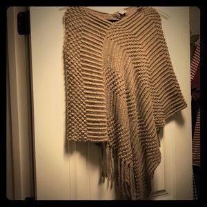 Waffle knit cozy poncho